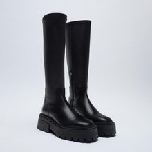 Lady Boots Round Toe Shoes Zipper Sexy Thigh High Heels High Sexy Boots-Women Lolita Rubber Black Le