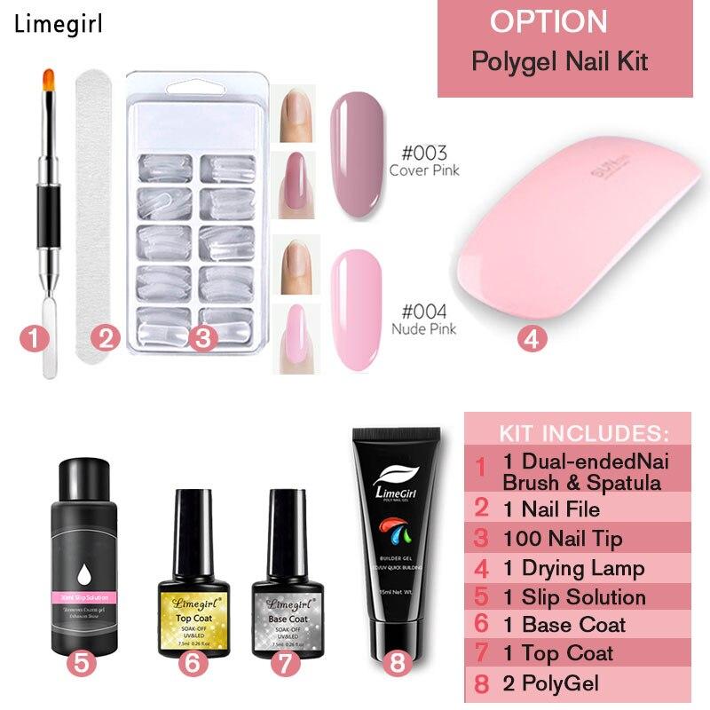 Limegirl Polygel Gel para extensión para manicura y Arte para uñas Set Use puntas para uñas postizas con lámpara de uñas para manicura Gel polaco 9 uds/Kit