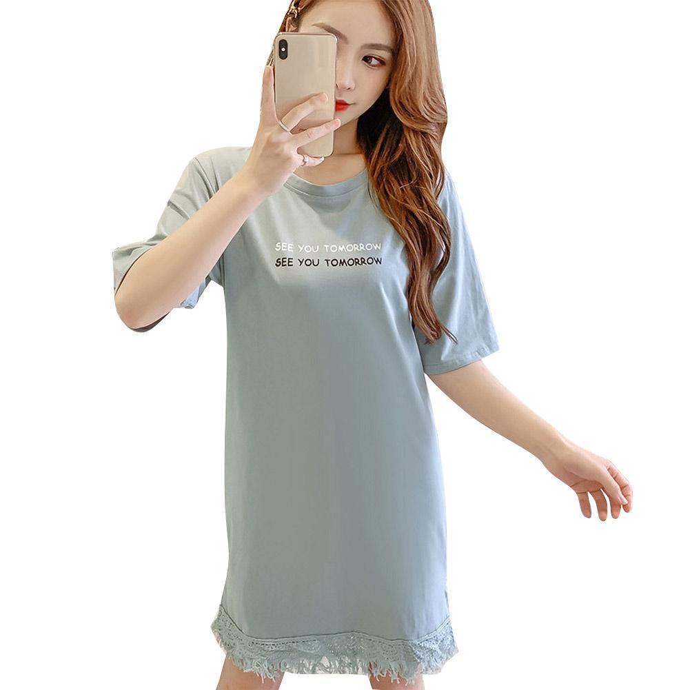 Spring Summer Dress Vestidos Fashion Women Loose Fit Round Neck Half Sleeve Tassel Long Shirt Mini Dress