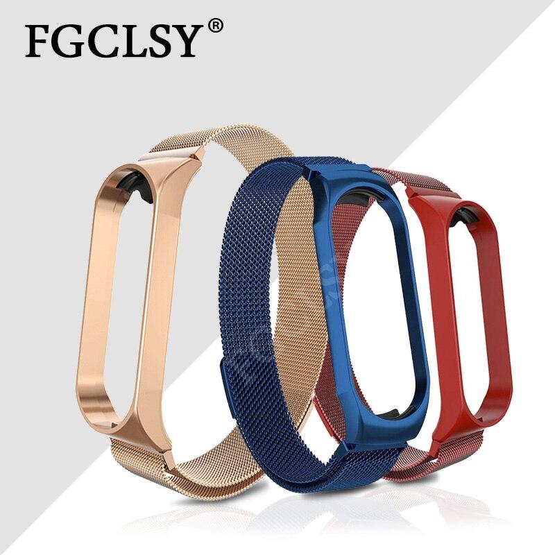 FGCLSY para Xiaomi Mi Band 4 3 Correa magnética de Metal correa de reloj de pulsera Mi Band 4 3 accesorios de pulsera correa de muñeca de acero inoxidable