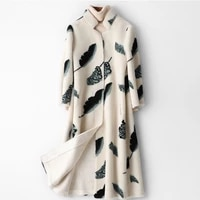 elegant white print flower real fur coat office lady winter wool clothes women warm jacket middle length genuine fur overcoats