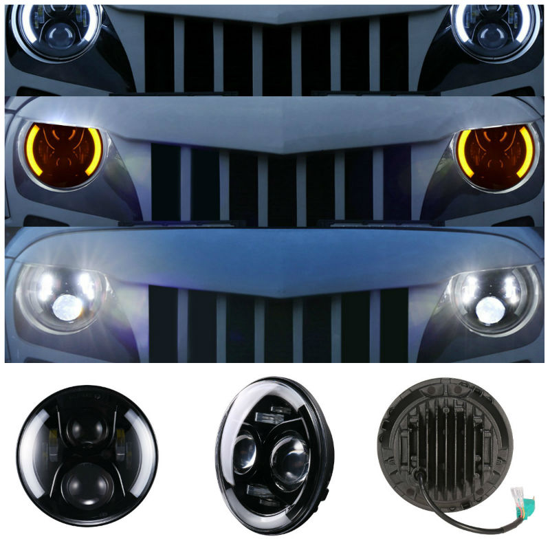 "7 ""faro LED de 50W LED faro Hi-Lo haz blanco anillo de Halo para Lada 4x4 Urban Niva JK Land Rover Defender Hummer"