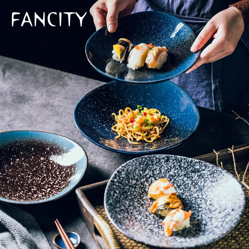 FANCITY-طبق كيمتشي دائري ، طبق مطبخ سيراميك متعدد الوظائف ، خبز الأرز ، pla