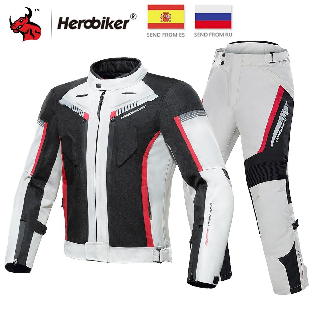 HEROBIKER Motorcycle Jacket Protective Gear Waterproof Moto Jacket Men's Motocross Clothing Motorcycle Suit With 5 Protector