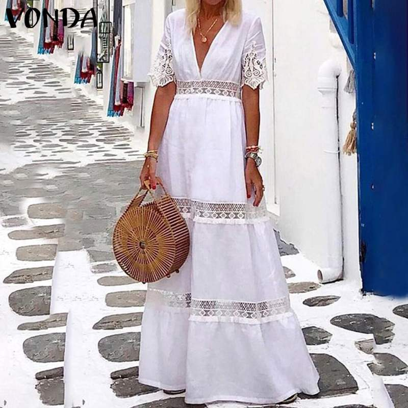 bohemian women maxi long dress 2019 vonda summer o neck long sleeve pattern print dresses casual loose party vestidos plus size Summer Sexy V Neck Long Maxi Dress 2021 VONDA Women Casual Short Sleeve Party Dresses Loose Elegant Lace Bohemian Vestidos