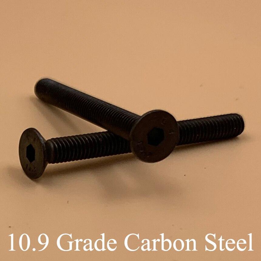 M10 * 16/20/25/30/55/60/70mm 10.9 grau de aço carbono preto din7991 csk liso escareado cabeça interna sextavada sextavada parafuso de soquete