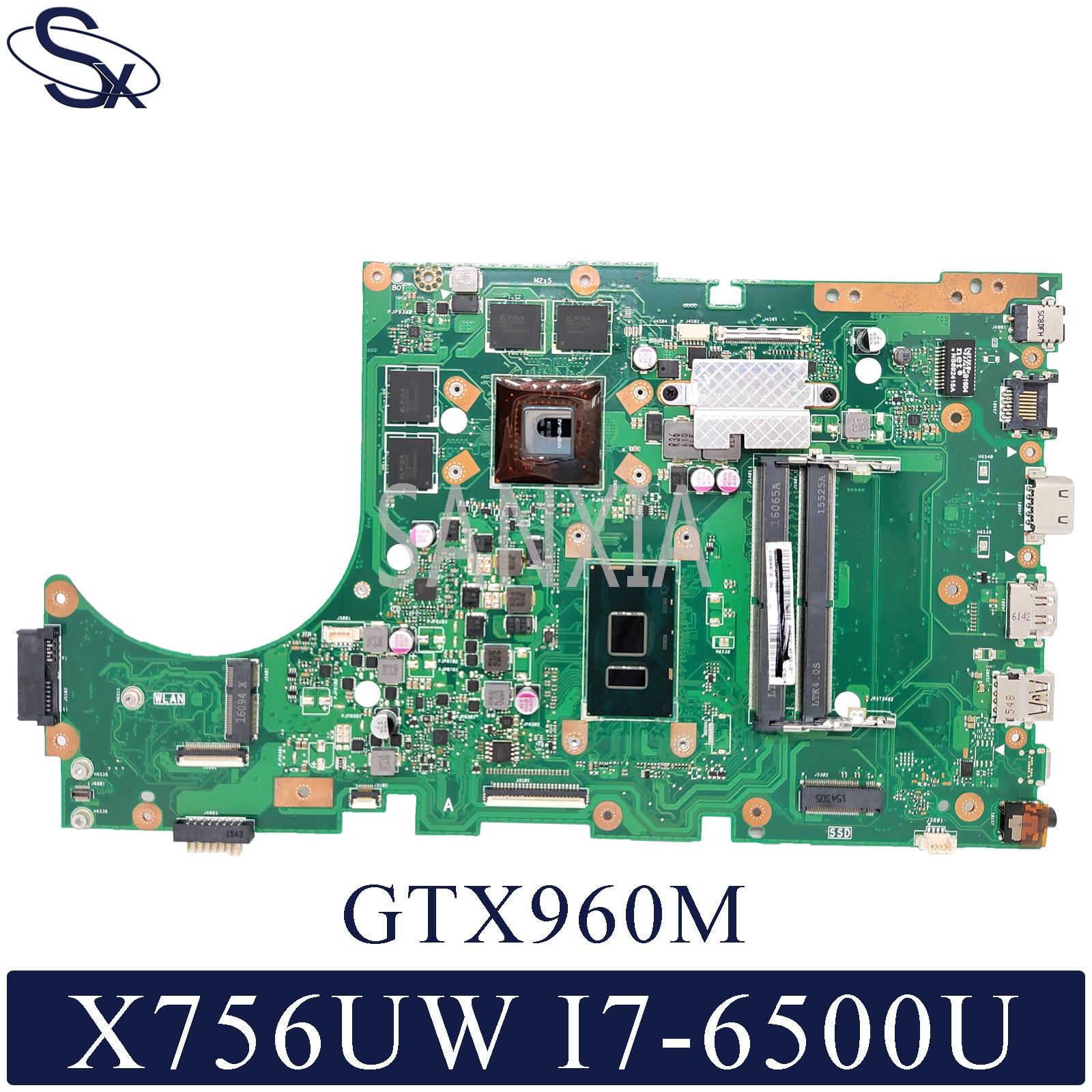 KEFU X756UXM محمول اللوحة الأم ل ASUS X756UW اللوحة الأصلية I7-6500U GTX960M