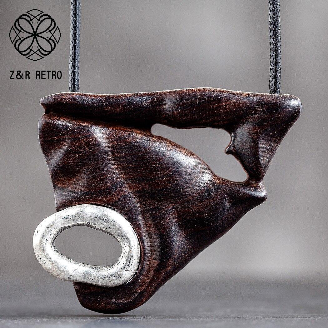 גיאומטרי עץ אביזרי תכשיטים מלאכותיים נשי תליון תכשיטי על צוואר קישוט מתנה גדול מסיבי שרשרת לנשים אוהבים