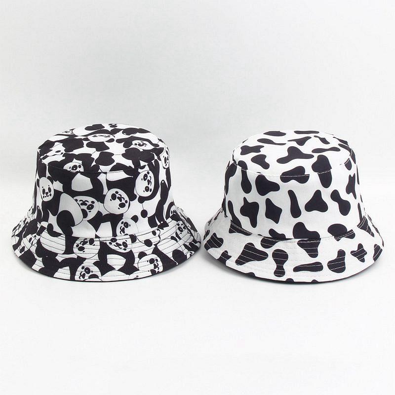 Sombrero de pescador de algodón con estampado de vaca, sombrero de pescador para exteriores, sombrero para el sol, gorra, sombreros para hombres y mujeres 202
