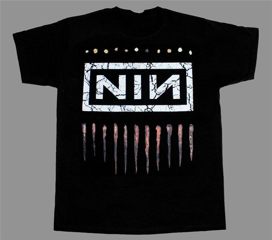 Nine Inch Nails Nin Logo Rock S-Xxl manga corta-larga nueva camiseta negra suelta tamaño superior Ajax camiseta