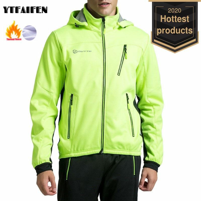 Jersey de ciclismo con capucha de tela polar para hombre, chaquetas térmicas de invierno para ciclismo, rompevientos, chaqueta de lluvia, ropa reflectante para hombre, sudaderas con capucha