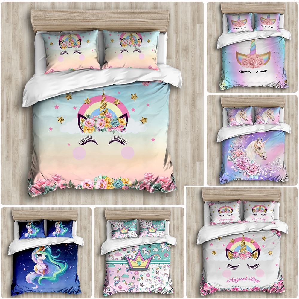 Golden Cartoon Unicorn Twin Bedding Set Girls Cute Colorful Duvet Cover Pillow Case Kid Room For Birthday Gift Bedclothes 3PCS