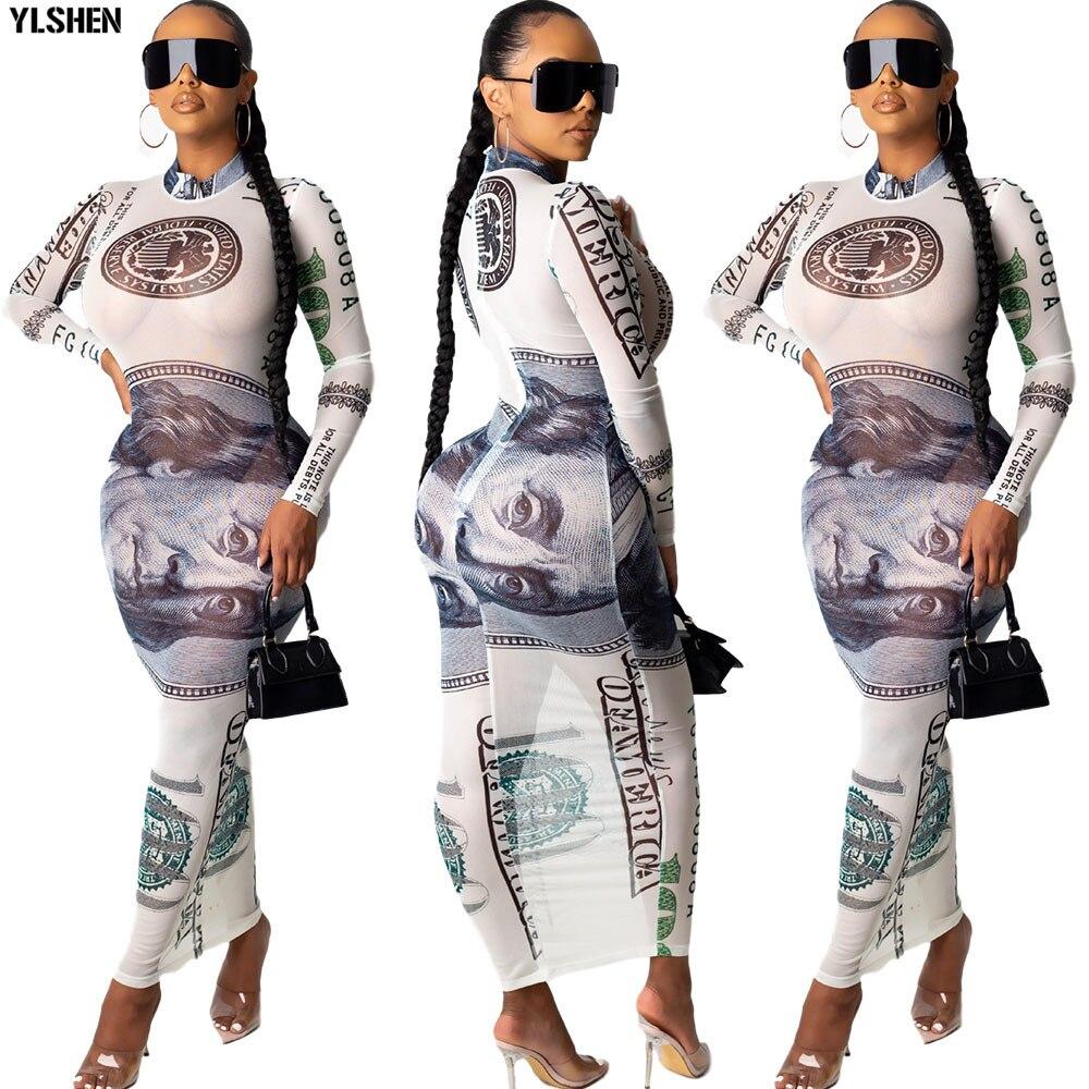Vestidos africanos de manga larga para mujer, ropa africana de Ropa nueva 2020, Vestido largo de malla de moda para mujer