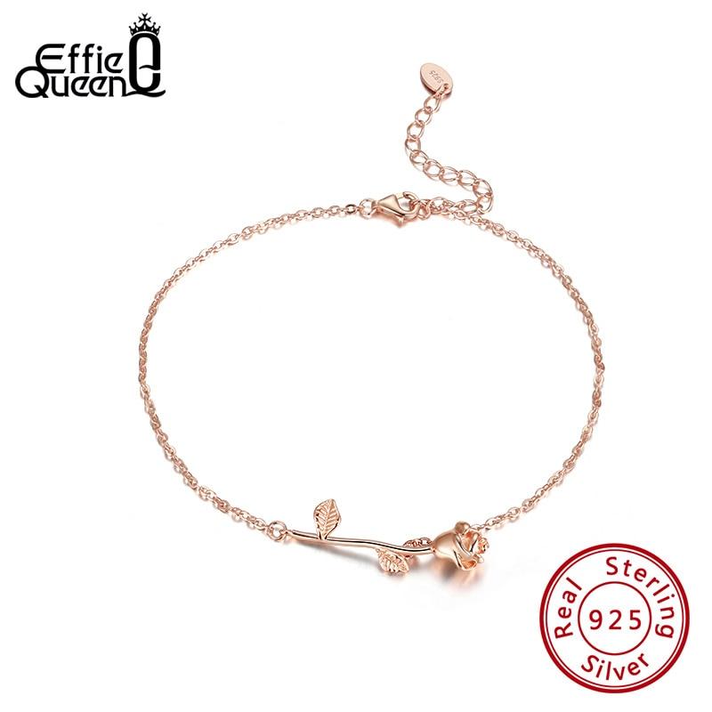 Effie Queen Exquiste Rose Flower Shape 100% 925 Silver Anklet  for Women Girls Summer Sandals Beach Leg  Jewelry Gift SA08