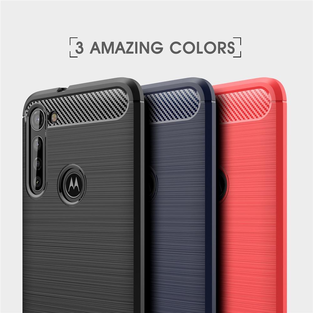 Funda de teléfono UFlaxe para Motorola Moto G8 Plus Play Power Lite, carcasa blanda, escobillas de fibra de carbono a prueba de golpes, funda ultrafina 01LS