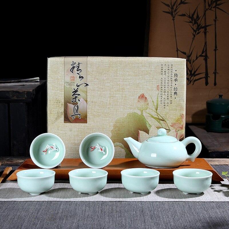 Celadon كوب السمك الصغيرة الكارب طقم شاي إبريق الشاي السيراميك الكونغ فو طقم شاي براد شاي ومجموعة أكواب طقم شاي فاخر اكسسوارات المطبخ