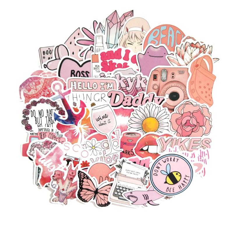 50 Uds pegatinas de chica Vsco estilo INS rosa de dibujos animados para Laptop Moto Skateboard equipaje refrigerador Notebook Laptop pegatina de juguete F5