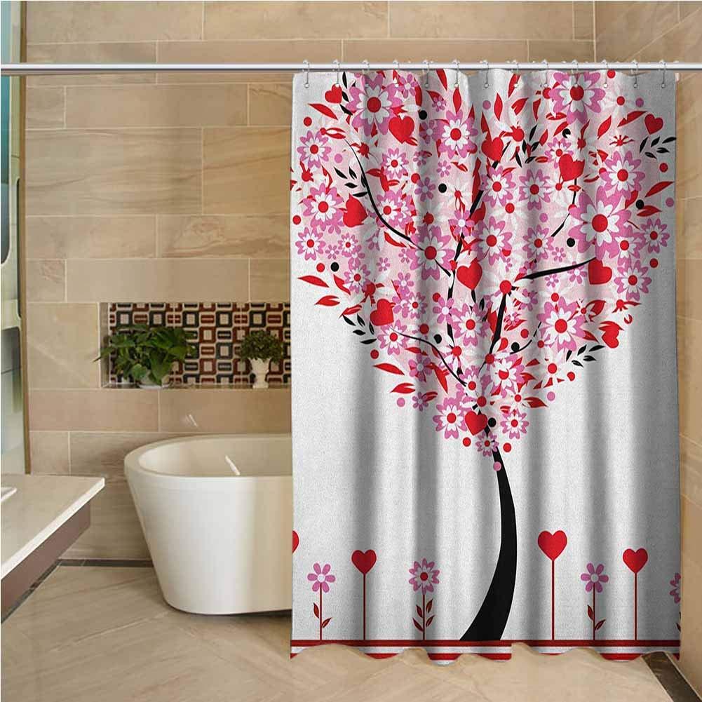 Cortina de ducha impermeable inodoro para San Valentín, margaritas con forma de corazón, flores silvestres, hojas rojas, bosque, Romance, imagen de temporada de amor
