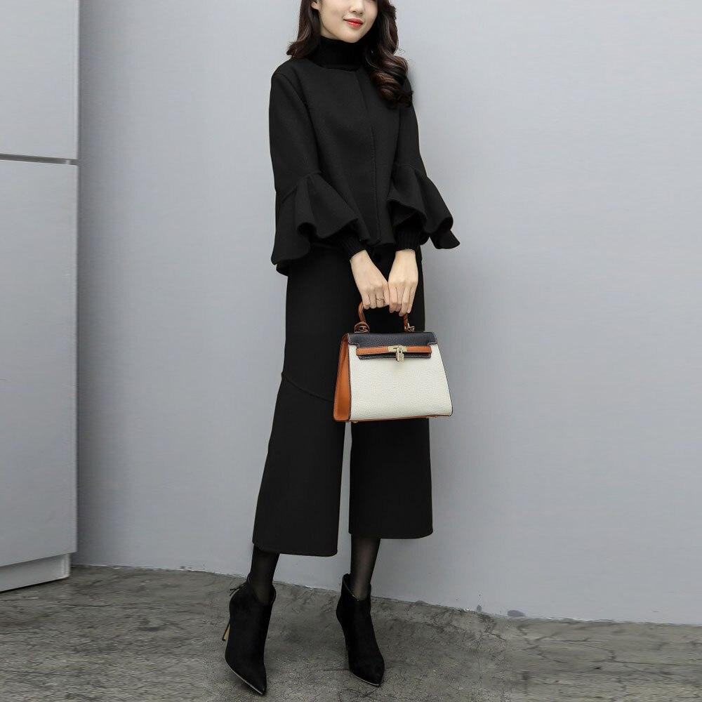 معطف من الصوف الكوري الصلب مع كشكش للنساء ، طقم من قطعتين ، بنطلون طويل وأرجل واسعة ، ملابس غير رسمية للمكتب ، أسود