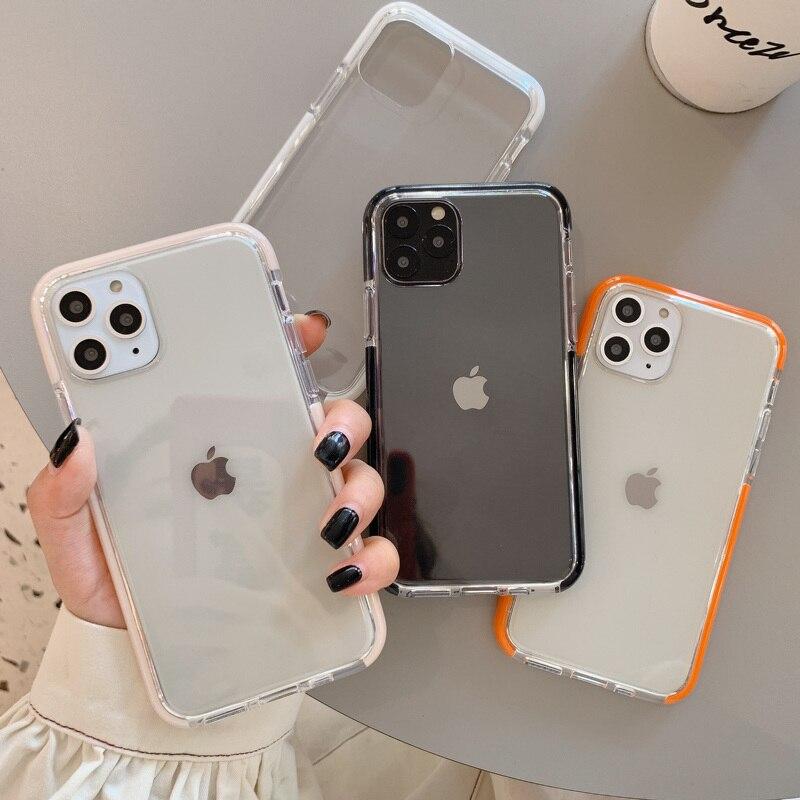 Moda a prueba de golpes parachoques caramelo Color suave marco teléfono funda para iPhone 11 11Pro Max XR X XS Max 6S 7 8 Plus TPU claro contraportada