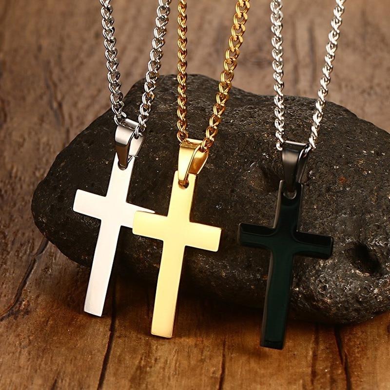Classique hommes croix pendentif collier pour homme en acier inoxydable collier déclaration Cruz bijoux 24