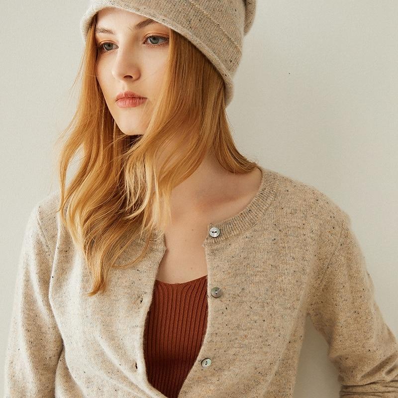 Tailor Shop Custom Made Women's Round Neck Dot Yarn Pure Cashmere Cardigan Short Coat Sweater enlarge