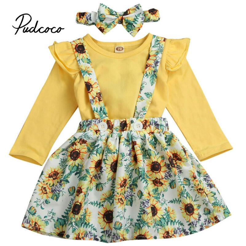2020 otoño Niñas Ropa girasol arco superior faldas con correa diadema bebé conjuntos de niña pequeña niños ropa Conjunto 1 2 3 años