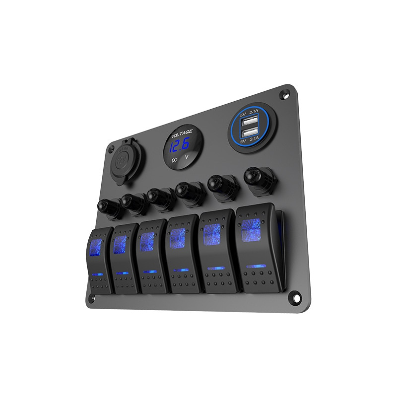 Panel de interruptor Universal 6 Gang, interruptor de aire, balancín marino, pantalla de voltaje LED + cargador USB 5V 4.2A + encendedor de cigarrillos, camión, barco, Coche