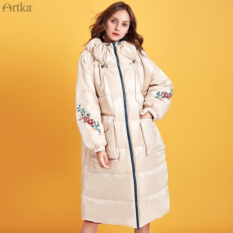 ARTKA 2019 الشتاء جديد المرأة أسفل معطف 90% الأبيض بطة أسفل للغاية الدافئة أبلى زهرة التطريز طويل أسفل معطف YK15097D