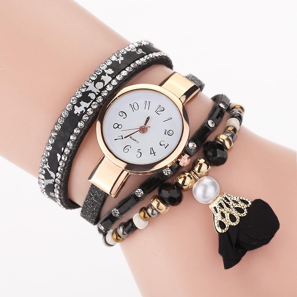 CCQ Frauen Uhr Vintage Perle Blume anhänger Armband Zifferblatt Analog Quarz Armbanduhr montre femme relogio feminino Reloj Mujer