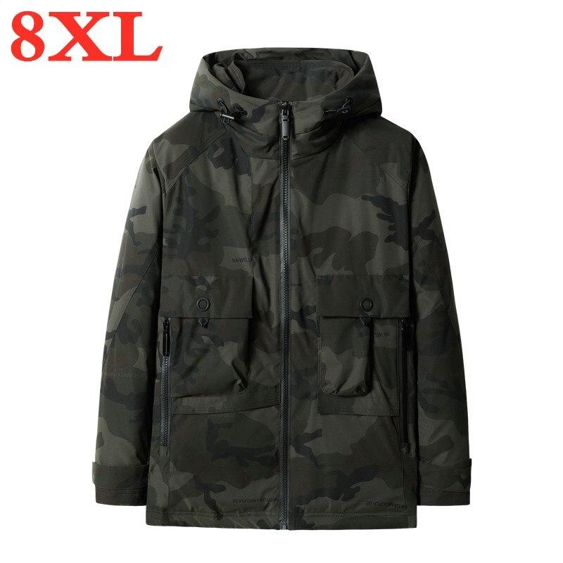 Chaqueta de invierno de talla grande 8XL con capucha para hombre, abrigo de invierno para hombre
