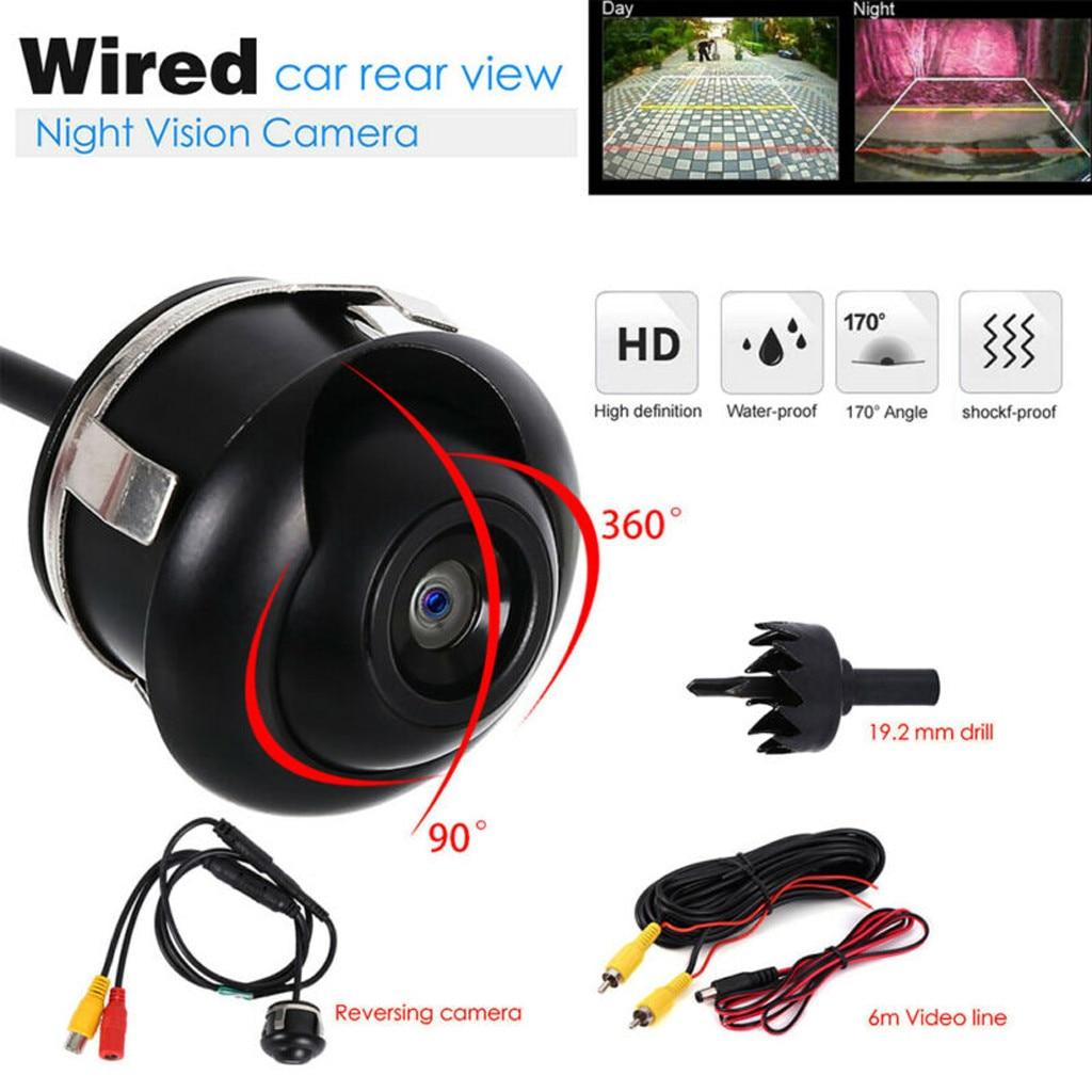 Vista trasera de coche cámara Universal LED de visión nocturna aparcamiento Cámara inversa impermeable 360 gran angular HD Color imagen