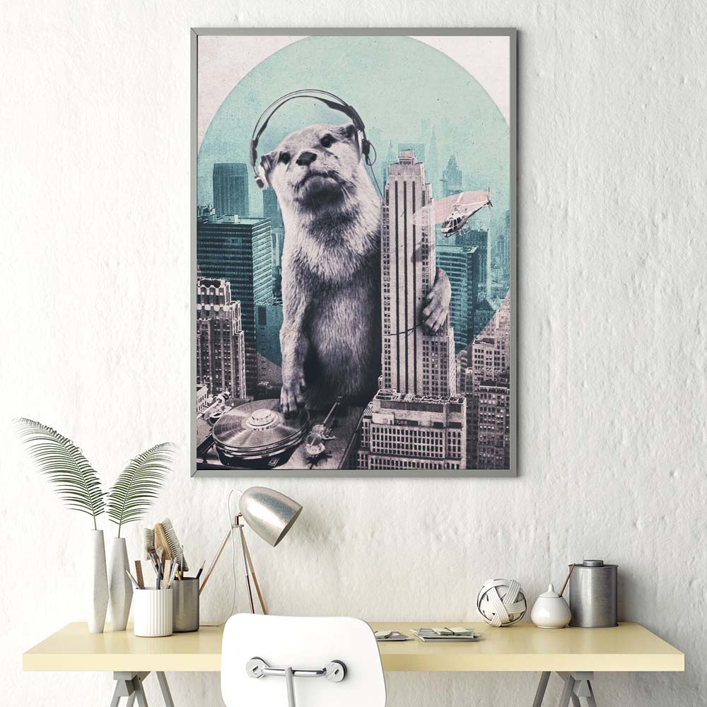 Impresión moderna de lienzo de estilo nórdico, cartel de nutria para Dj, decoración del hogar, pintura de pared, imagen creativa, sala de estar Modular