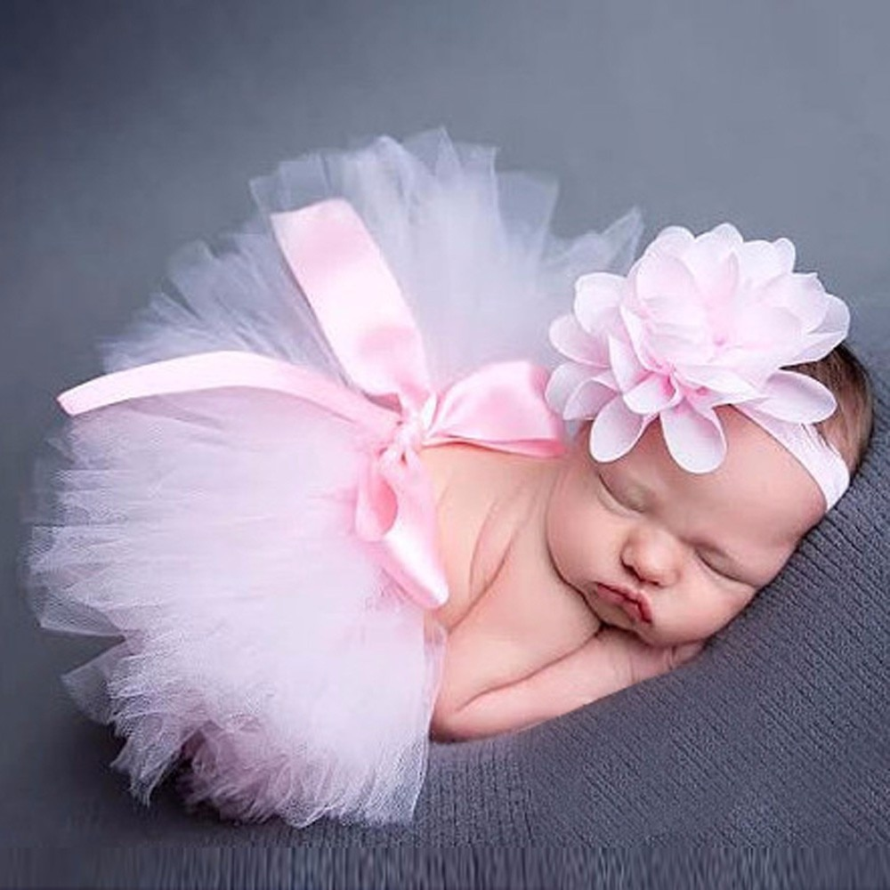 newborn baby photography 2Pcs Baby Newborn Photography Props Baby Tutu Skirt Photo Props and Flower Headband Hat for Newborn baby Photography Accessories