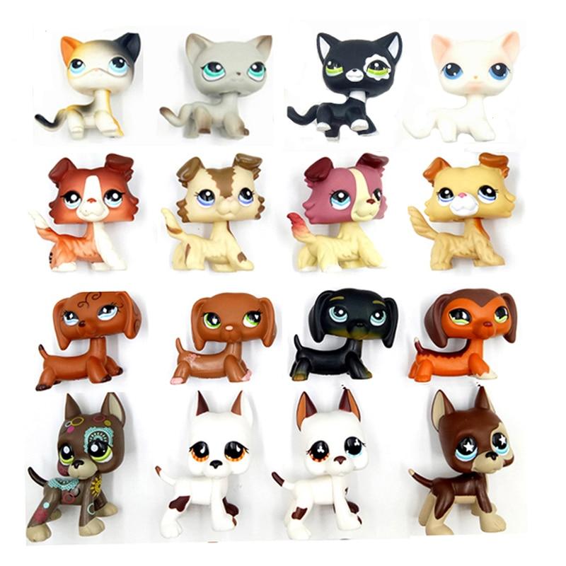 Tienda de mascotas raras lindos Juguetes De pie pequeño gato de pelo corto #5 perro salchicha animal Gran Danés 577 cocker spaniel collie