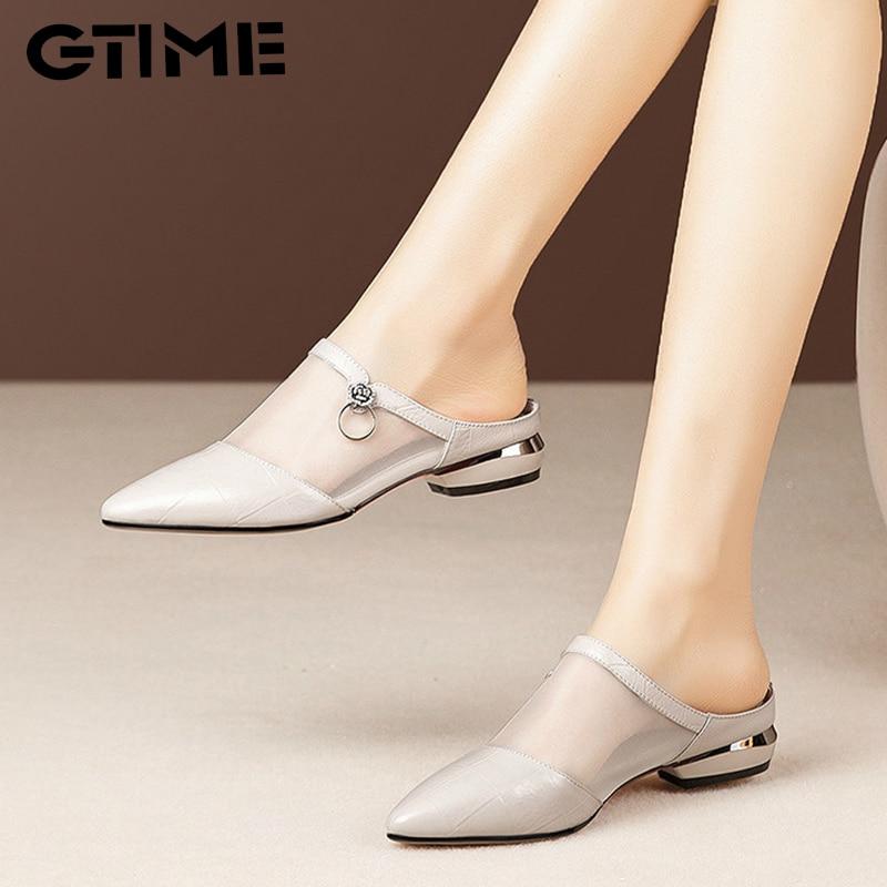 Women's Shoes Pointed Toe Cone Heels Mules Woman Sandals 2021 Fashion Summer Slippers Women Ladies Slides Office Female Footwear недорого