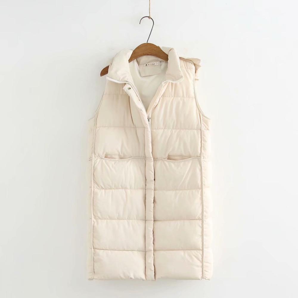 Plus size sleeveless women long Beige vest coats 2020 new winter casual hooded ladies pockets coats female tops
