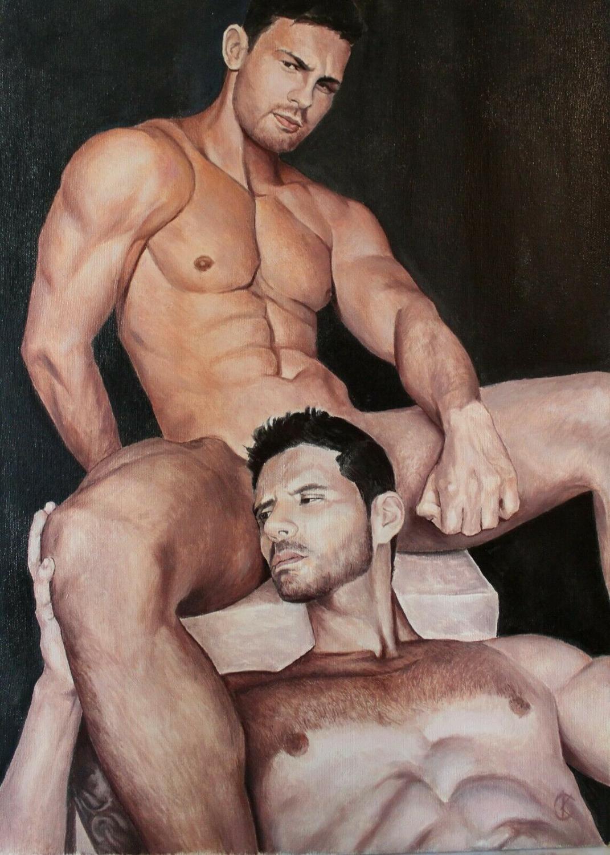 """Idyll"" Original 100%Handmade  Oil Painting Hand on canvas (Kovtun S.) male gay body man"