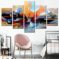 5 pieces wall art canvas painting watercolor lord buddha abstract religious posters home decoration pictures modern living room