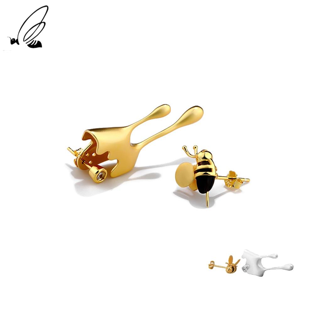 S'STEEL 스털링 실버 925 꿀벌 스타일 비대칭 스터드 귀걸이 여성을 위한 선물 귀여운 귀걸이 럭셔리 특이한 맞춤 보석
