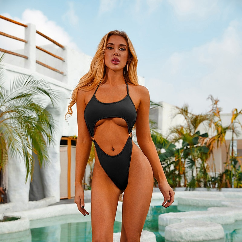 TTING Ring link One Piece Swimsuits Women Push Up Swimwear Cut Out Black Sexy High Cut Bodysuits Bandage Halter Bathers 2021 New