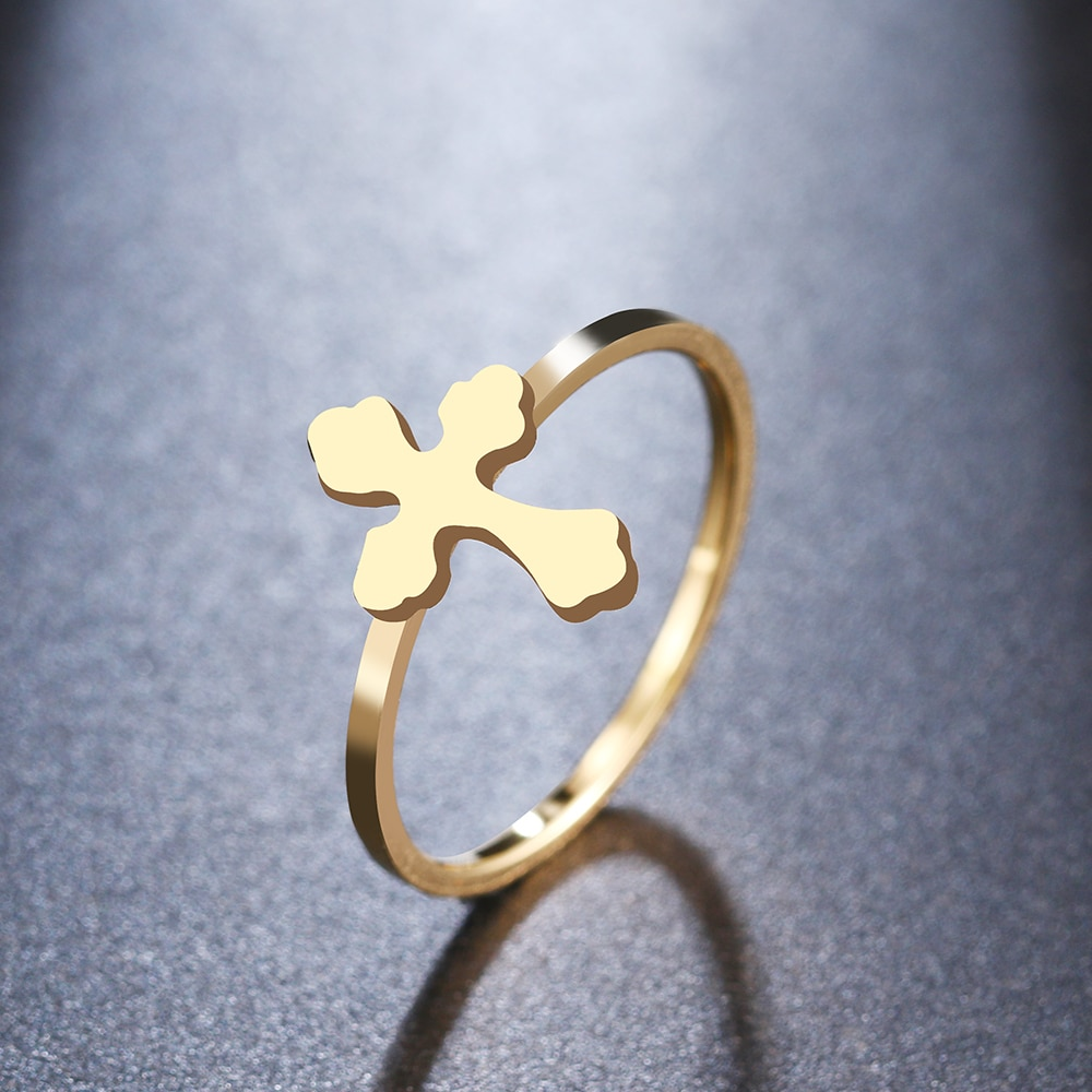 DOTIFI para mujer anillo geométrico Cruz soldada 316L Acero inoxidable Color oro y plata fiesta/Joyería de boda