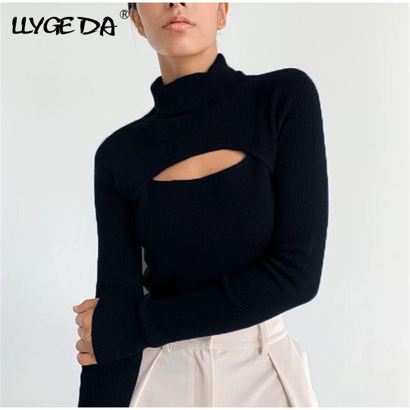 Черные женские водолазки, свитера, пуловеры 2021 Осенние Новые однотонные Лоскутные тонкие свитера женские сексуальные офисные Топы