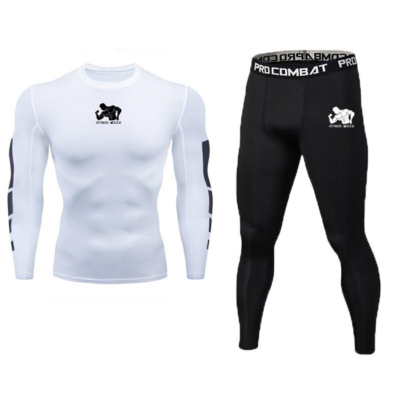 Мужские спортивные кроссовки комплект компрессионная футболка + брюки в обтяжку