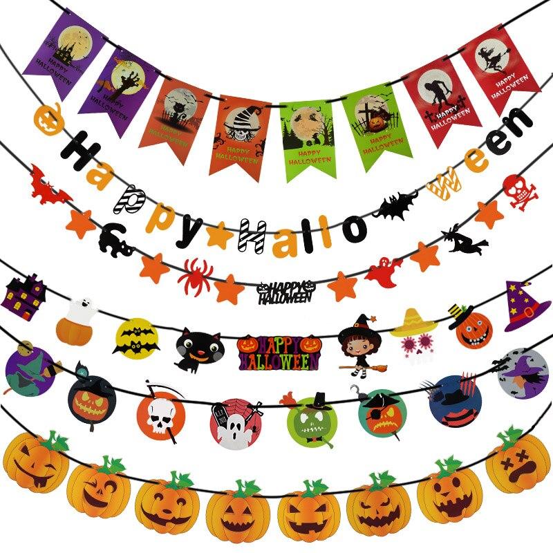 1 Set Happy Halloween Brief Papier Girlande Ghost Schädel Pumpkins Muster Banner Bunting Halloween Hause Dekoration Partei Liefert