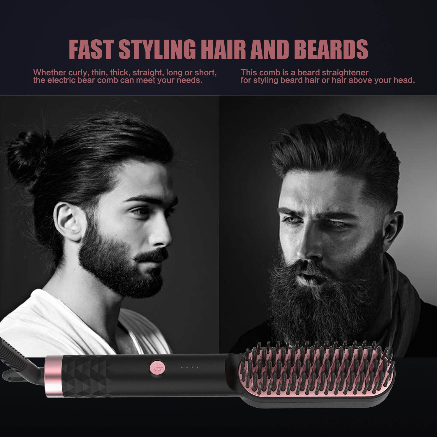 PTC Heating Hair Straightener Brush Comb Personal Care Smooth Men's Styling Shape Anti Static Fluffy Straight Beard Comb