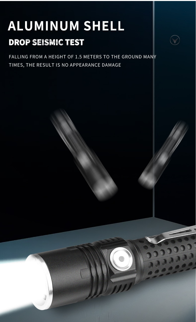 New XHP50 LED Flashlight USB Rechargeable Aluminum Fashlight Waterproof Torch with Pen Holder Silicone Anti-slip Tube enlarge