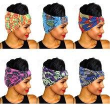 Neue Vintage Frauen Stirnbänder Haar Zubehör Afrikanische Gedruckt Stretch baumwolle Stirnbänder Elastische Headwear Turban kopftuch headwrap