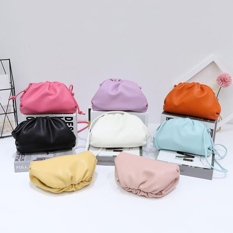 New Colors The Pouch Bag Day Clutch Party Dumpling Purse Women Ruched Pillow Bag Leather Handbag Summer Bag Blue Purple Yellow