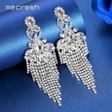 Mecresh Crystal Rhinestone Wedding Drop Earrings for Women Statement Silver Color Bridal Big Long Fringe Tassel Earrings MEH1642